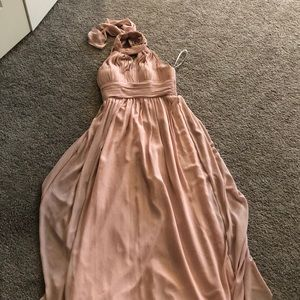 Floor length blush pink dress